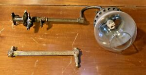 Antique Gas Light Globe Extra Swivel Arm Wall Sconce Brass With Burner