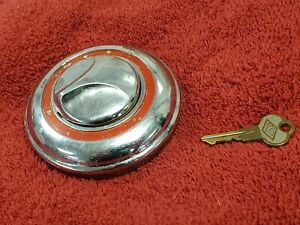 Vintage Finned Locking Gas Cap With Key Car Or Truck Antique Old