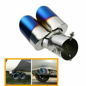 Car Rear Dual Exhaust Pipe Tail Muffler Tip Throat Blue Tailpipe Stainless Steel