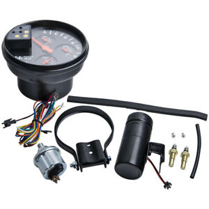 5 Inch Rpm Tachometer Oil Water Temp Gauge W Light Black