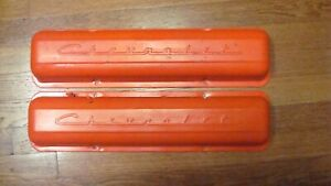 1962 1967 Sbc Chevrolet Stamped Script Valve Covers 283 327 straight Bolt