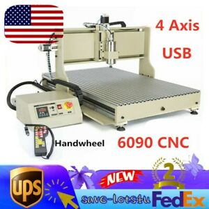 Usb 4 Axis Cnc Router Engraver 6090 Wood Carving Milling Machine 2200w Control