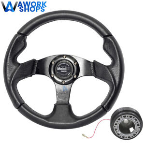 For 95 99 Mitsubishi Eclipse 320mm Pvc Steering Wheel W Mobile Cf Hub Adapter