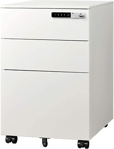 Devaise 3 drawer Mobile File Cabinet With Smart Lock Pre assembled Steel Under