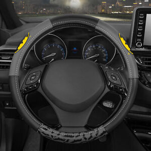 Leather Steering Wheel Cover Official Dc Comics Batman Logo Protector Skin