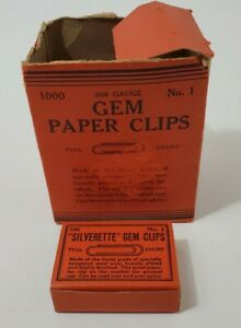 Vintage Silverette Gem Paper Clips No 1 With Box Made In Usa New Old Stock