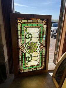 Sg3715 Antique Stained Glass Transom Window 27 X 45