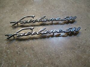 1962 1963 Ford Fairlane 500 Script Emblems Badge Roof Pillar