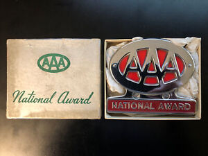 Vintage 60s Aaa Award Chrome Emblem Trunk License Plate Topper Ford Gm Chevy Amc