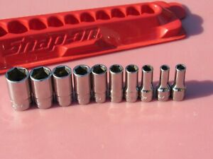 Snap On 110tmsy 10 Pc 1 4 Drive 6 Point Sae Semi Deep Socket 3 16 916 Mid