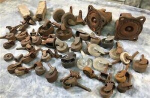 Lot Caster Wheels Industrial Age Hardware Vintage Furniture Wheel Parts F