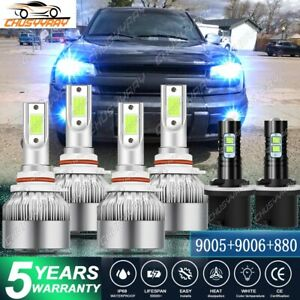 For Chevy Trailblazer 2002 09 8000k Combo 9005 9006 880 Led Headlight Fog Bulbs