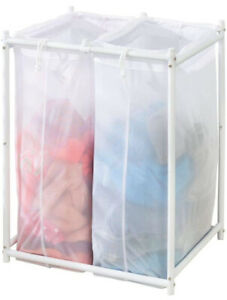 Laundry Hamper Organizer sorter With Metal Stand And 2 Removable Large Mesh Bags