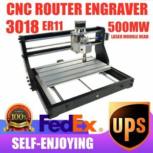 Cnc 3018pro Router Laser Engraver 300mmx180mm 500mw Wood Pcb Diy Milling Machine