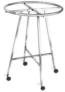 Store Display Fixtures 2 Garment Round Clothing Racks With Rollers
