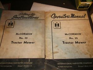 Mccormick No 32 Sickle Mower Owners Operators Setting Up Instruction Manual