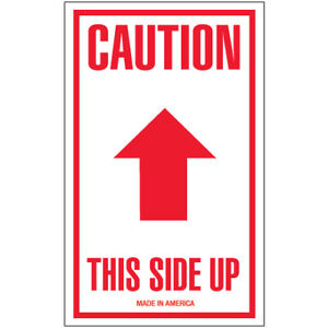 3 X 5 caution This Side Up Arrow Labels 500 roll Red
