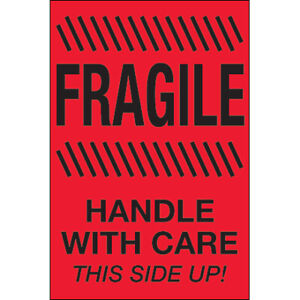 4 X 6 fragile Hwc This Side Up Labels Red 500 roll