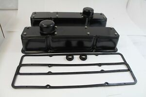 Small Block Chevy 2 Pc Tall Valve Covers Kit 58 86 Gasket Breathers Black