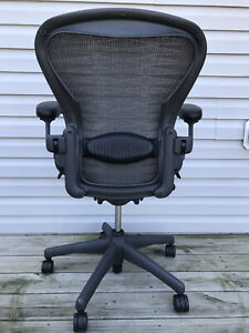 Herman Miller Aeron Size B Graphite carbon Fully Loaded Ergonomic Office Chair