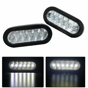 2pc Trailer Truck 6 Oval 6 Led White clear Backup Reverse Tail Light Waterproof