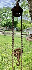 Vintage Yale Towne Chain Hoist Differential Block 1 Ton Double Pulley