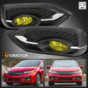 For 2014 2015 Honda Civic 2dr Coupe Yellow Bumper Fog Lights Switch Bulb 14 15