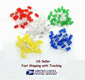 100pcs 5mm Led Diode Kit Mixed Color Red Green Yellow Blue White Us Seller