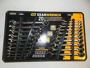 Gearwrench Sae Metric Combination Ratcheting Wrench Set 35720 20 Piece New