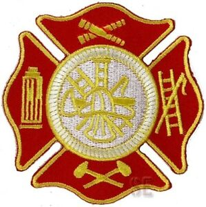 Firefighter Fire Rescue Patch Maltese Cross W Tools Of The Trade 3 5 Red Gold