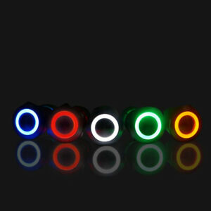 19mm 12v Led On Off Waterproof Stainless Steel Latching Push Button Power Switch