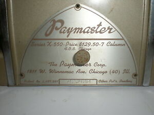 Paymaster Series X 550 Check Writer Protector With Key