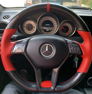 Mercedes Steering Wheel Cover Carbon Fiber W Red Perforated Leather