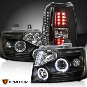 Chevy 2007 2012 Avalanche Halo Projector Headlights Led Tail Brake Lamps Black
