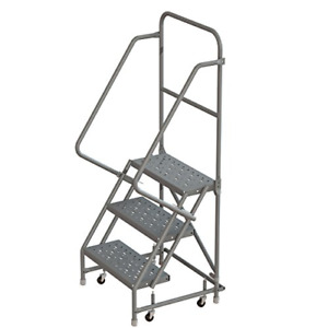 Tri arc Kdsr103246 3 step Steel Rolling Industrial And Warehouse Ladder With And