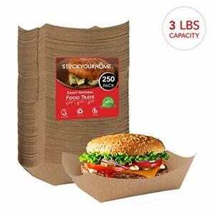 Paper Food Boats 250 Pack Disposable Brown Tray 3 Lb Eco Friendly 5 X 3