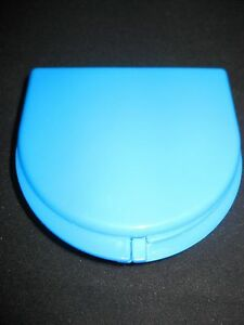 Blue Plastic Mouth Retainer Storage Container 2 5 x3 x 75