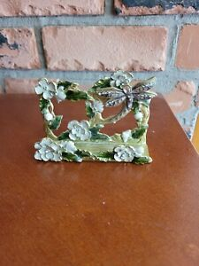 Decorative Business Card Holder Metal enamel Jeweled Dragonfly New In Box