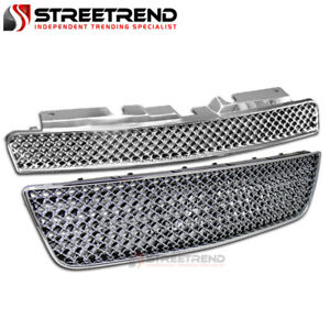 For 06 16 Chevy Impala Chrome Mesh Front Hood Upper Lower Bumper Grill Grille 2p