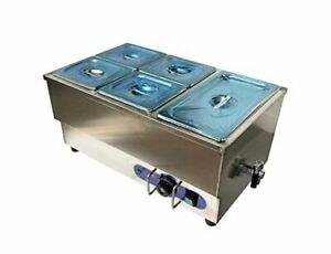 Intbuying 5 pot Food Warmer Steam Table Stainless Steel 110v