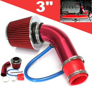 Universal 3 Cold Air Intake Filter Pipe Induction Kit Power Flow Hose System Us