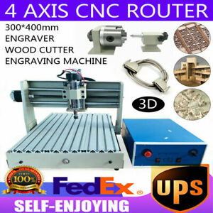Cnc 3040t 4axis Router Engraver Woodworking Engraving Mill Drilling Machine 400w