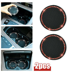 2pcs 7cm Car Coasters For Cup Holders Rhinestone Accessories Cup Holder Car Mats Fits Rav4