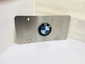 Vintage Bmw Logo Mirror Chrome Stainless Steel Front License Plate 12 X 6 Rare