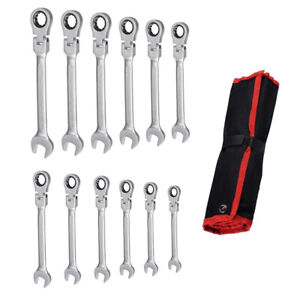 8 19mm 12pc Metric Flexible Head Ratcheting Wrench Combination Spanner Tool Set