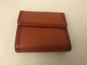Franklin Covey Pebbled Leather Open Snap Binder 6 Rings Brown 7 5 X 6