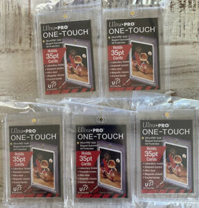 Lot Of 5 Ultrapro 35 Pt One Touch Magnetic Card Holders Cases Uv Protection