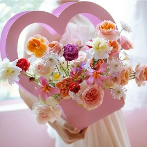 Heart Portable Flowers Boxes Romantic Packing Paper Box For Women Gift Basket