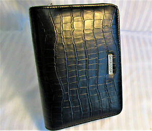 Very Nice New Day Runner Compact Size Planner Black Simulated Moc Croc Ez Zip