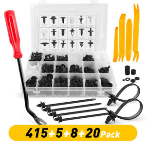 448pcs Plastic Rivets Fastener Fender Bumper Push Clips Removal Tool For Chevy